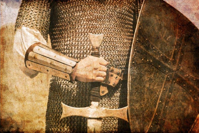 Foto des Ritters und der Klinge. lizenzfreie stockfotografie