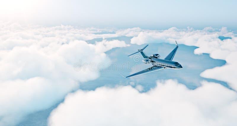 Foto des schwarzen generischen Designluxusprivatjets, der über die Erde fliegt Leeren Sie blauen Himmel mit weißen Wolken am Hint stockfoto