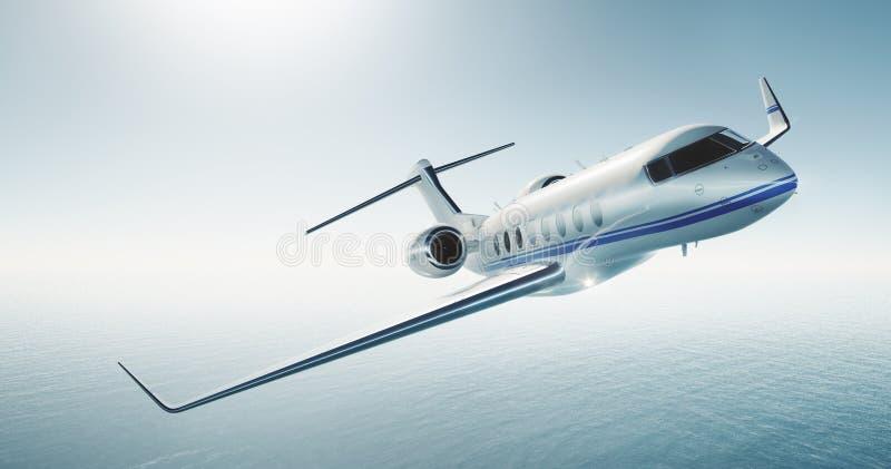Foto des weißen generischen Designluxusprivatjets, der über das Meer fliegt Leerer blauer Himmel am Hintergrund Junge Frau im Her lizenzfreie stockfotografie