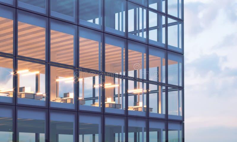 Foto des Wolkenkratzerturms Hohes Bodenbüro, Innen in der Abendzeit Panoramischer Fensterfassadenhintergrund, zeitgenössisch lizenzfreie stockfotografie