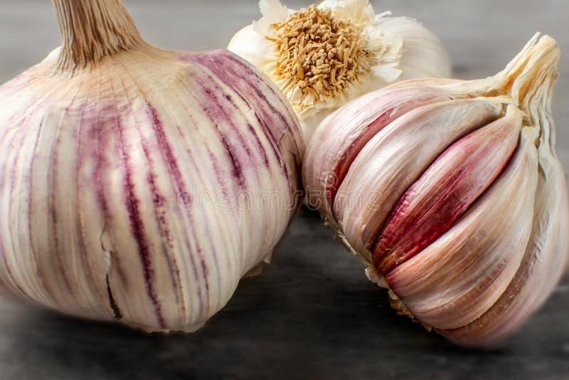 Foto dettagliata delle lampadine dell'aglio sulla tavola di legno, un certo clov porpora fotografia stock