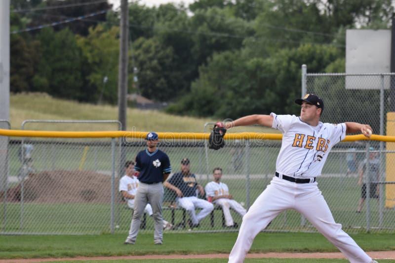 Foto di azione del gioco di baseball fotografia stock