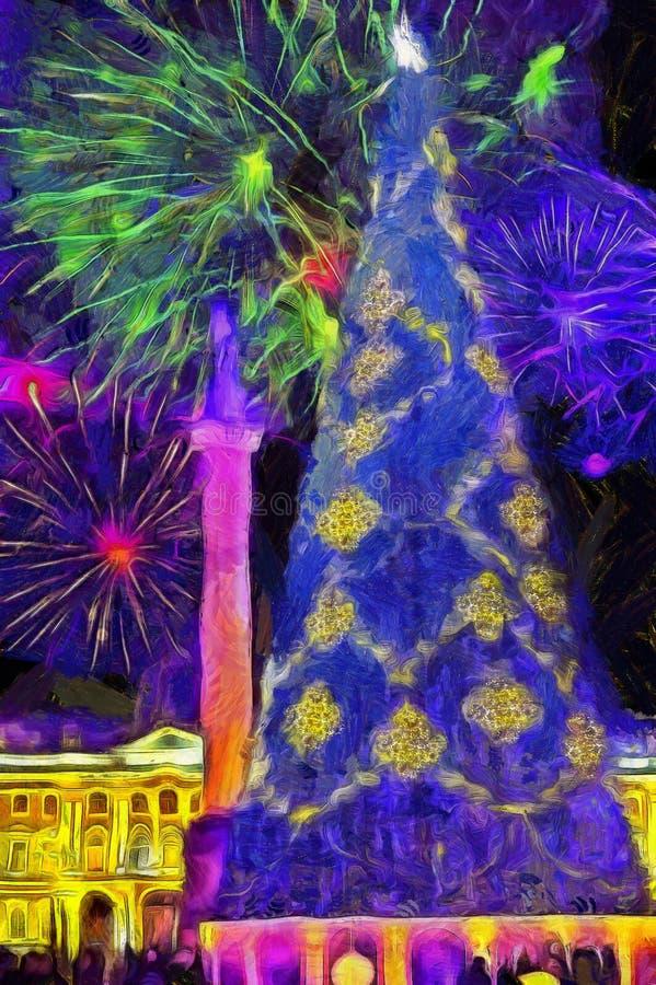 Foto di Capodanno in ghirlanda a Palace Square, San Pietroburgo, Russia media misti illustrazione vettoriale