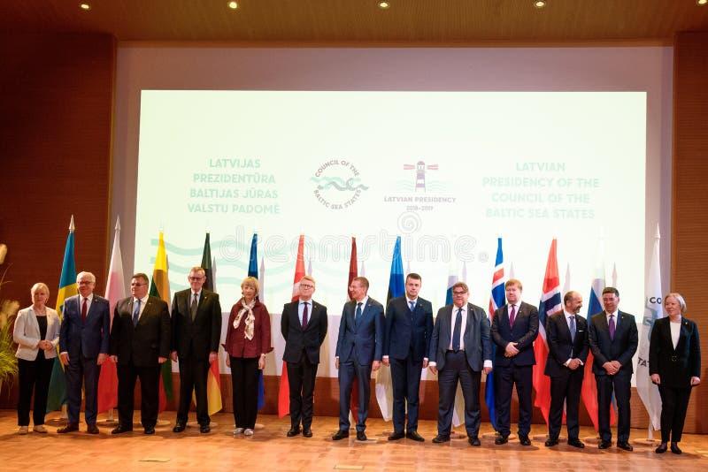 Foto di famiglia, nel corso della riunione ad alto livello della presidenza lettone del Consiglio degli stati CBSS del Mar Baltic immagine stock