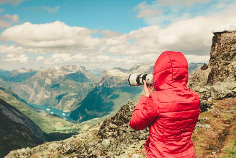 Foto di presa turistica da area Norvegia di Dalsnibba fotografia stock