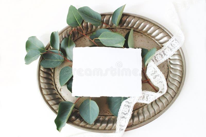 Foto di riserva disegnata Composizione femminile in natura morta di nozze, scena del modello con il vassoio d'argento d'annata, c fotografie stock libere da diritti