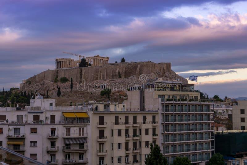 Foto di Roman Acropolis, centro storico di Atene, Attica, Grecia fotografie stock libere da diritti
