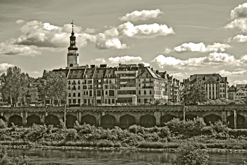 Foto di seppia di vecchia città di Glogow, Polonia immagine stock libera da diritti