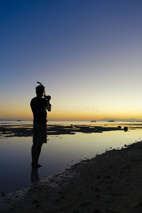 Foto di tramonto dopo essere immersosi fotografie stock libere da diritti