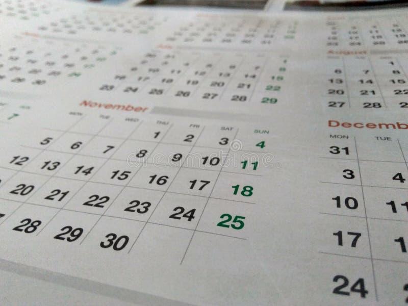 Foto di un calendario immagine stock