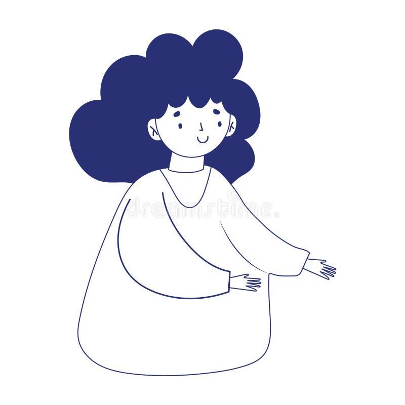 Donna con capelli ricci illustrazione vettoriale ...