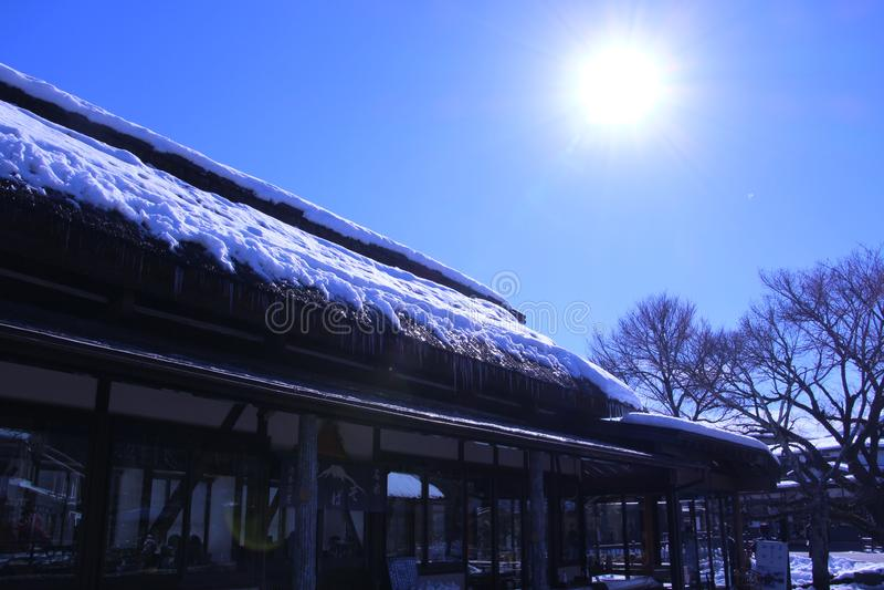 Foto di viaggio nell'inverno del Giappone fotografia stock libera da diritti
