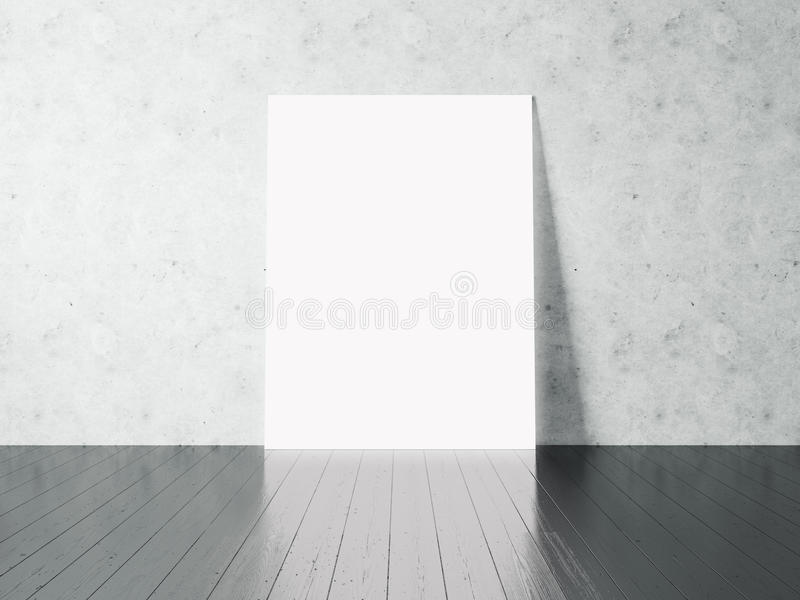 Foto do cartaz branco vazio no fundo concreto horizontal 3d rendem ilustração stock