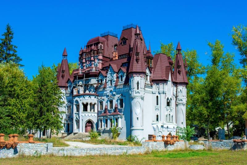 Foto do castelo da fantasia com muitas torres da altura fotografia de stock royalty free