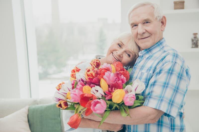 A foto do close up de duas da surpresa bonito do feriado do aniversário dos pares dos povos tulipas vermelhas grandes envelhecida fotografia de stock