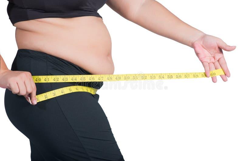 Foto do close up de um quadril excesso de peso asiático do ` s da mulher, é measurin fotos de stock royalty free