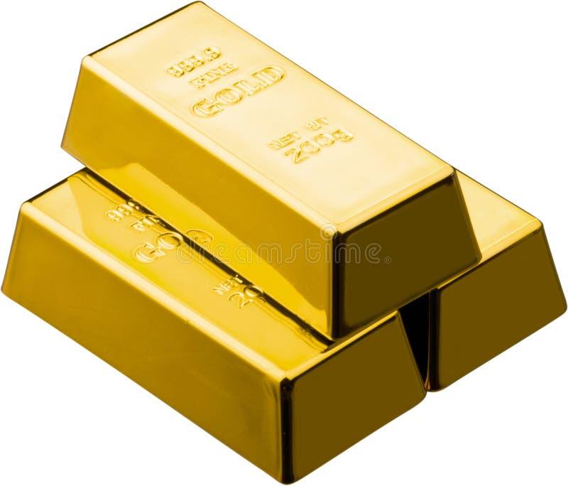 Foto do close-up dos tijolos do ouro isolados no branco imagem de stock royalty free