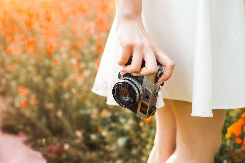 A foto do close-up, mão guarda a câmera análoga do filme no fundo de um campo de florescência colorized, do conceito da faculdade fotos de stock royalty free