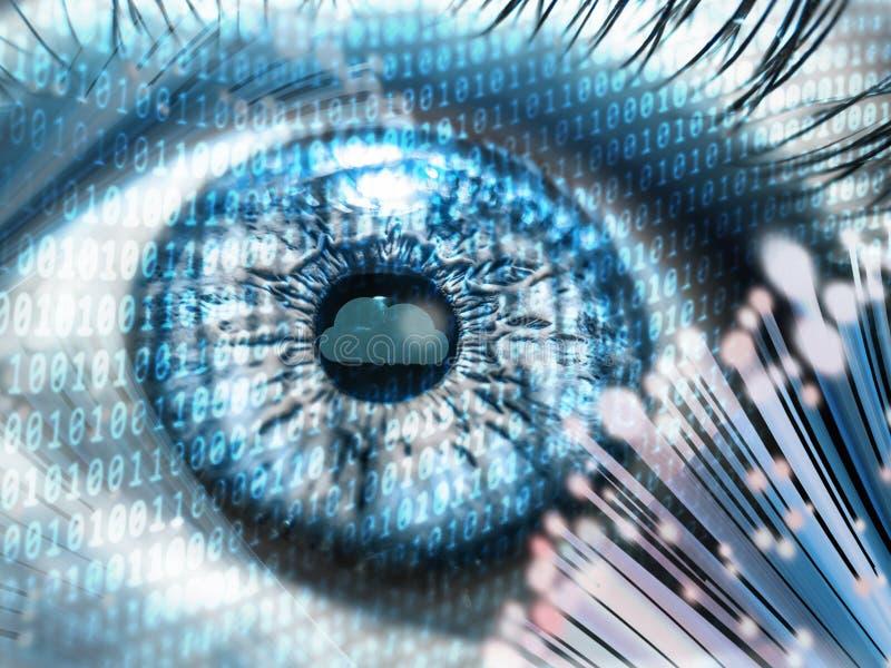 Foto do conceito do olho de Digitas armazenamento de dados da velocidade do Internet do cabo de fibra ótica e da nuvem imagens de stock royalty free