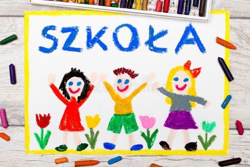 Foto do desenho colorido: Palavra polonesa ESCOLA ilustração do vetor