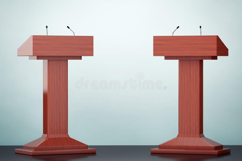 Foto do estilo velho A tribuna de madeira da tribuna do pódio está com micro ilustração royalty free