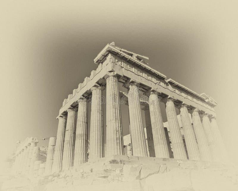 Foto do Grunge do templo do Partenon com o filme velho que olha o filtro fotos de stock royalty free