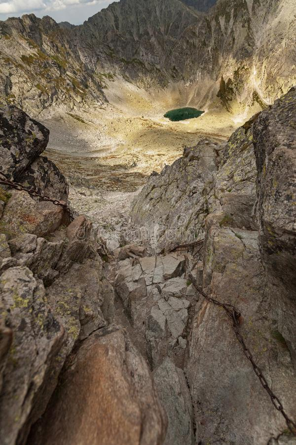 Foto do lago em montanhas altas de Tatra, Eslováquia do dolina de Mlynicka e do pleso de Capie, Europa foto de stock royalty free