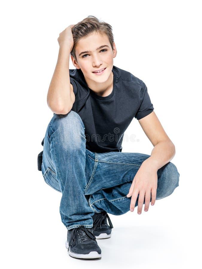 Foto do menino feliz novo adolescente adorável fotografia de stock