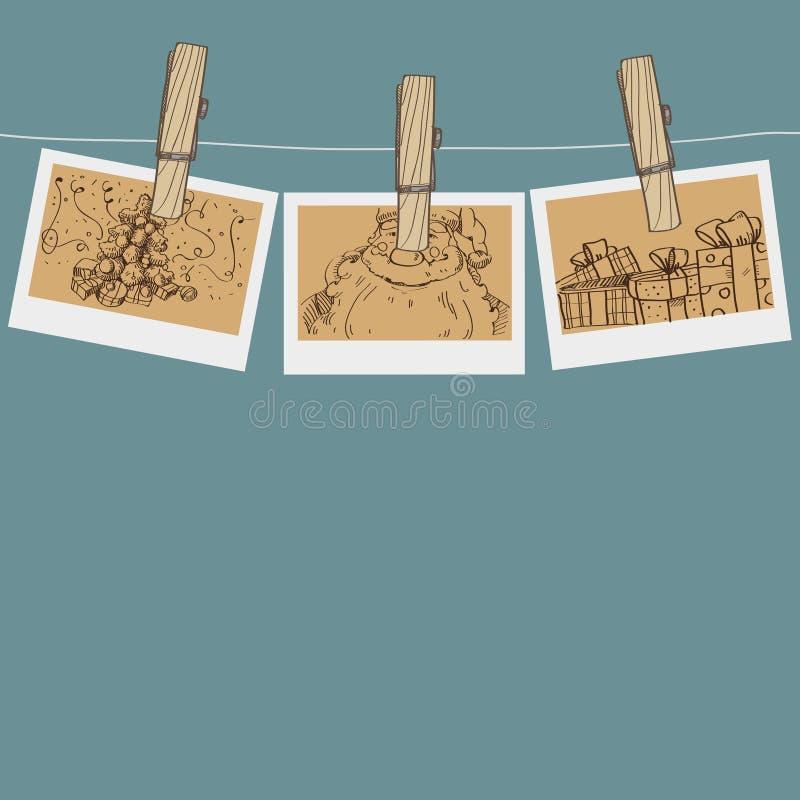 Foto do Natal em um clothespin ilustração do vetor