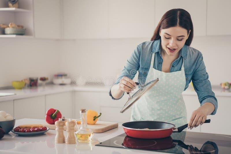 Foto do processo da esposa que faz a verificação tradicional do prato da família se apronta a cozinha brilhante pontilhada desgas imagens de stock royalty free
