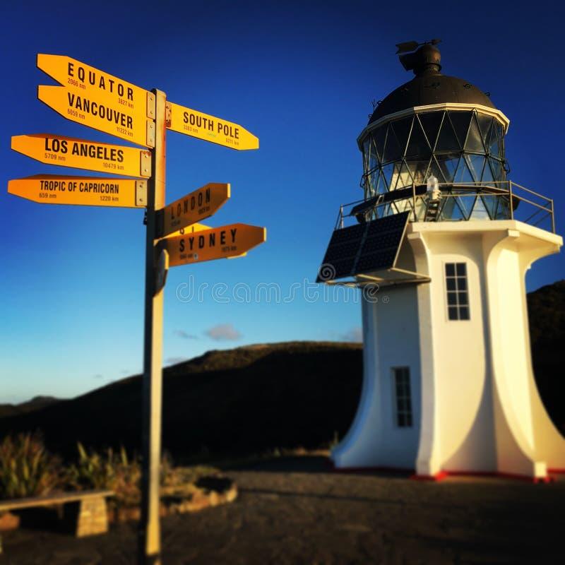 Foto do reinga do cabo de Nova Zelândia do farol fotografia de stock