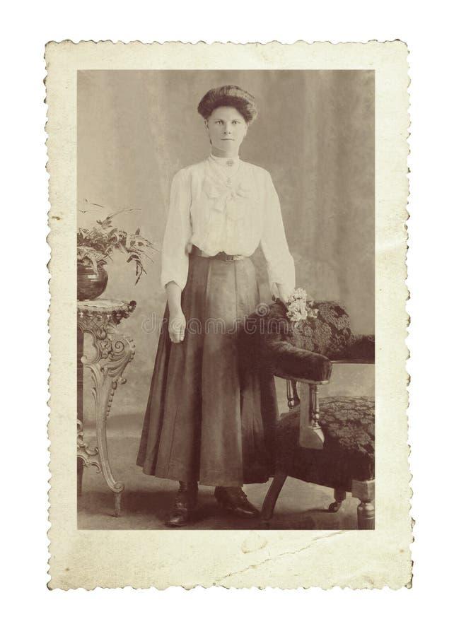 Foto do vintage da beleza de Edwardian fotos de stock