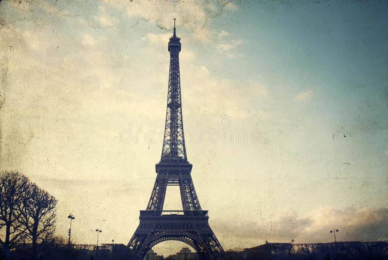 Foto do vintage da torre Eiffel foto de stock royalty free