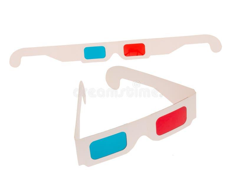Foto dos vidros vermelhos e cianos do cartão 3D isolados no branco Dois pares Dobrado e plano fotos de stock royalty free
