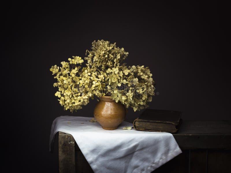 Foto dramática do estilo do claro-escuro de flores secadas da hortênsia com o livro velho no fundo escuro Vida imóvel melancólica imagem de stock royalty free
