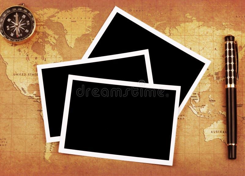 Foto e pena, compasso fotos de stock royalty free