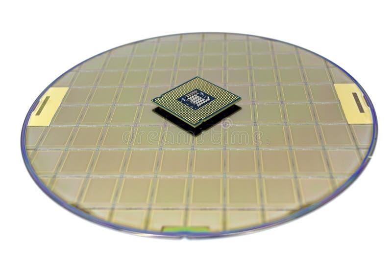 Foto einer Computer-Chip CPU gesetzt auf Siliziumscheibe mit Mikrochip lizenzfreie stockfotos