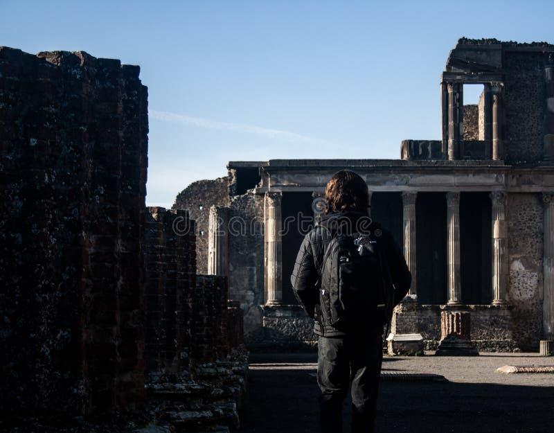 Foto eines ruinierten Bereichs von Pompeji stockbild