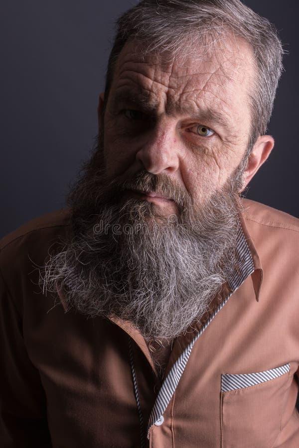 Foto eines verärgerten mürrischen alten Mannes, der sehr missfallen schaut Männlicher Mann mit langem Bart auf seinem Gesicht Sch lizenzfreie stockfotos