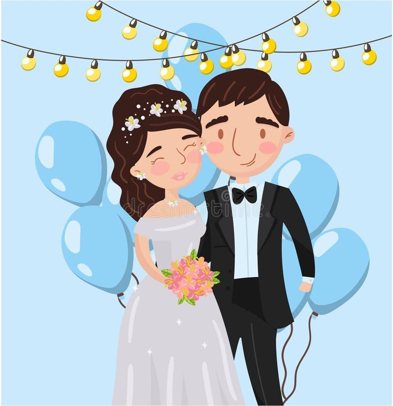A foto elegante bonita dos pares do amor do casamento, os melhores momentos em imagens, retrato de membros da família vector a il ilustração do vetor