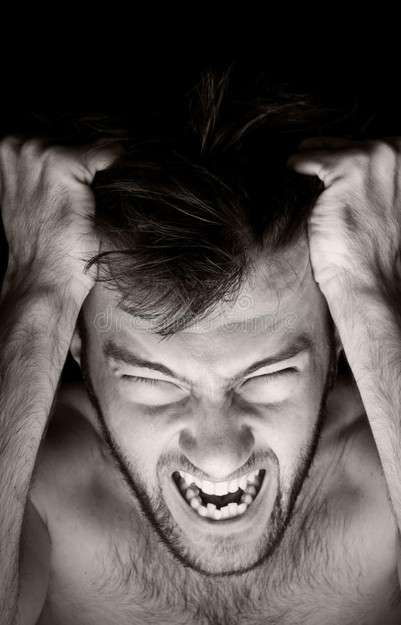 Foto emocional del hombre foto de archivo