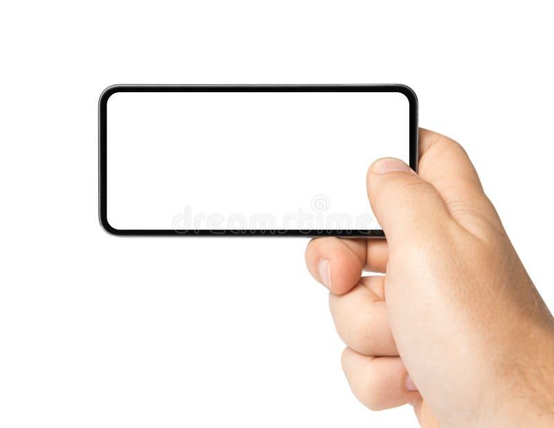 Foto en blanco con el teléfono móvil fotos de archivo libres de regalías