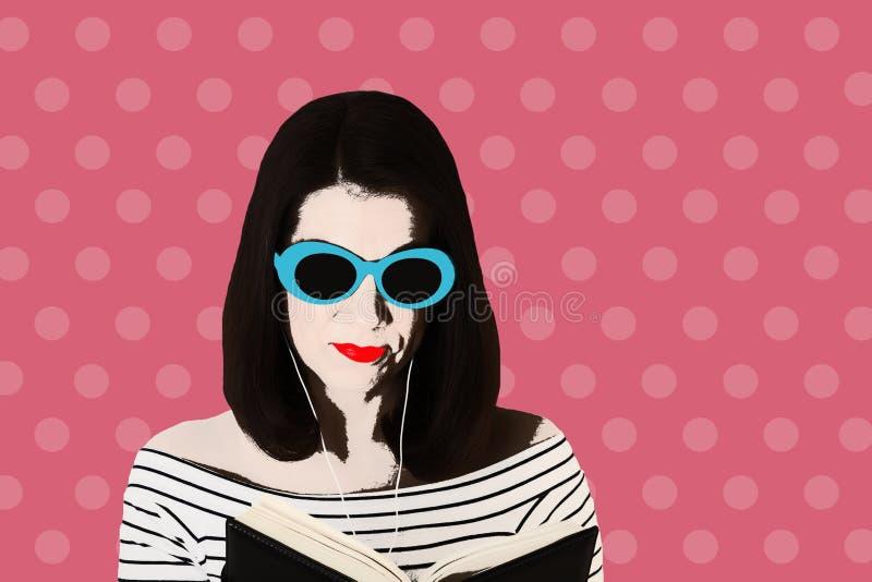 Foto en el estilo del arte pop Mujer en una raya blanco y negro ilustración del vector