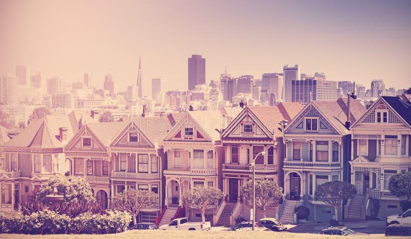 Foto estilizada del vintage retro de San Francisco imagenes de archivo