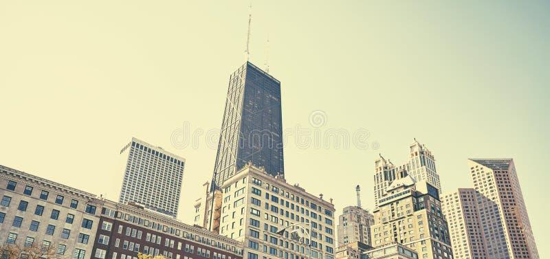 Foto estilizado retro da skyline do centro da cidade de Chicago, EUA fotos de stock