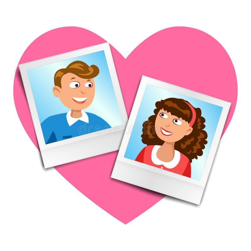 Foto för två tappning med den tecknad filmmannen och kvinnan på rosa hjärta royaltyfri illustrationer