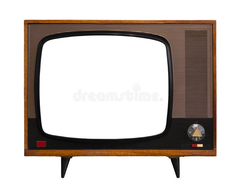 Weinlese Fernsehapparat mit lokalisiertem Schirm lizenzfreies stockfoto
