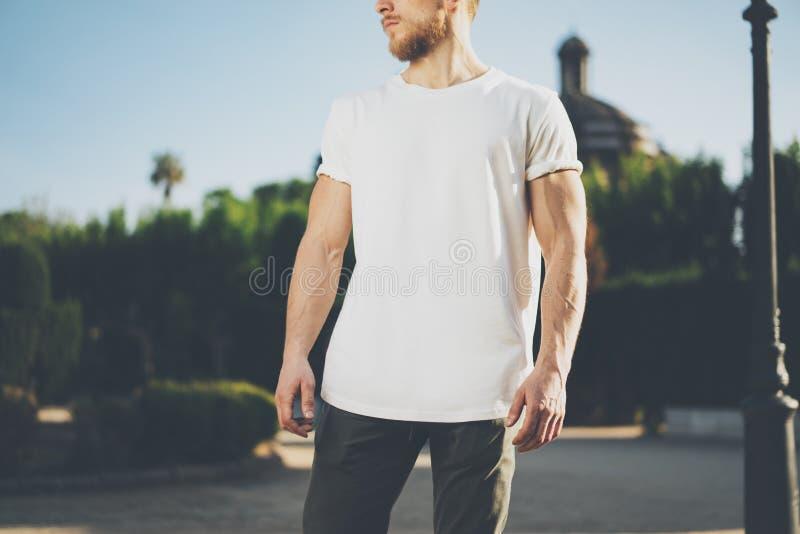 Foto Gebaarde Spiermens die Witte Lege t-shirt dragen De groene Achtergrond van de Stadstuin bij zonsondergang horizontaal Model stock afbeeldingen