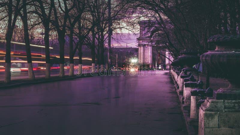 Foto hermosa de la calle central en el centro de Chisinau imagen de archivo libre de regalías