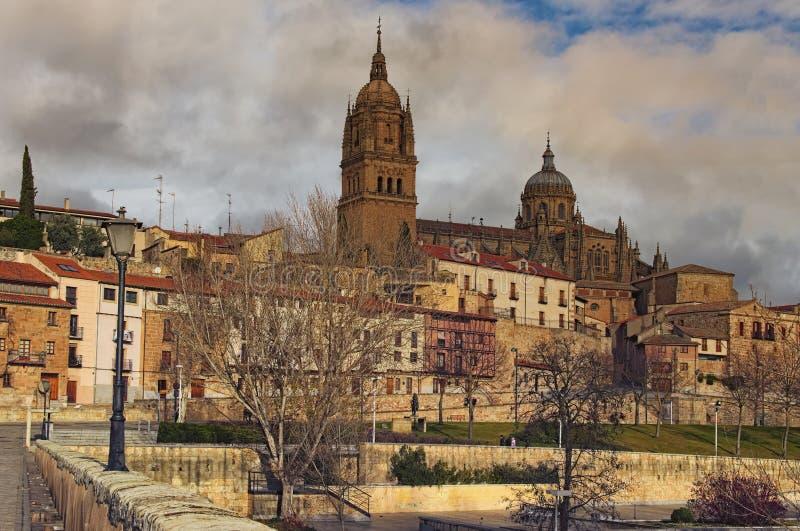 Foto hermosa del paisaje del invierno de Salamanca antigua Catedral Nueva de Salamanca en el top fotografía de archivo libre de regalías